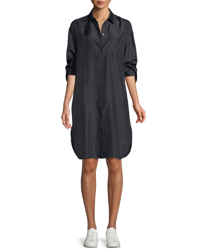 Silk Shirt Dress w/ Slit Back
