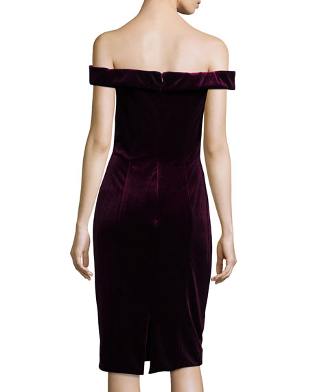Off-the-Shoulder Velvet Sheath Cocktail Dress