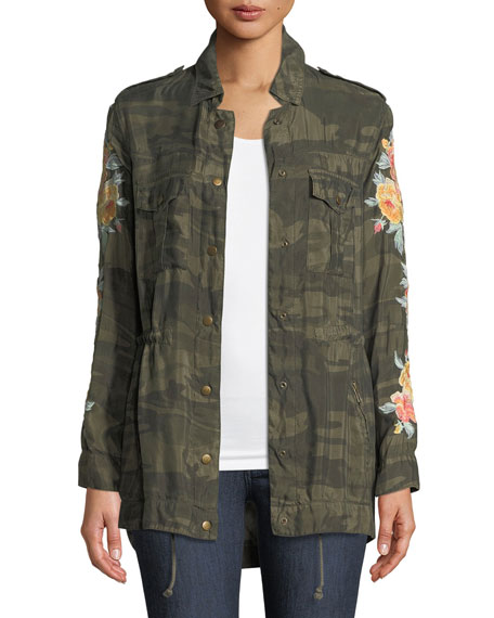 Johnny Was Brenna Embroidered Bomber Jacket