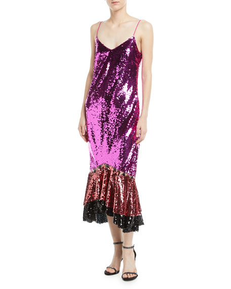 Maslak Sequin Flounce-Hem Slip Cocktail Dress