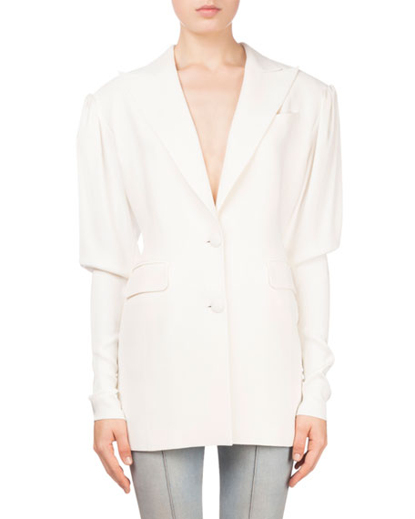 Bremen Button-Front Fitted-Sleeve Blazer with Pearlescent Cuffs