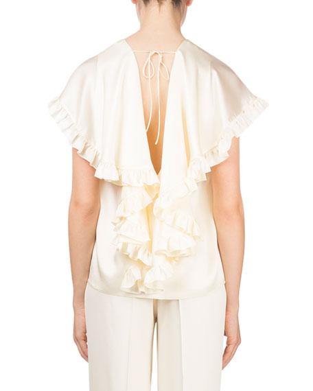 Piccio Ruffled Cape Drape-Back Silk Cocktail Blouse