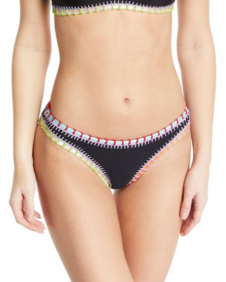 Crochet-Trim Scoop Swim Bikini Bottom, Black