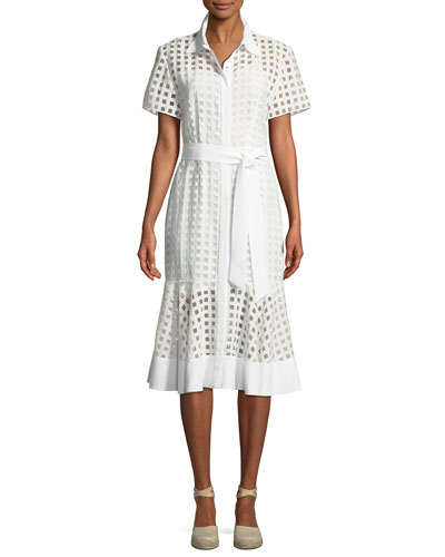 Haley Window-Check Short-Sleeve Dress