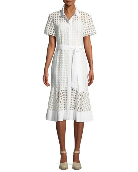 Milly Haley Window-Check Short-Sleeve Dress