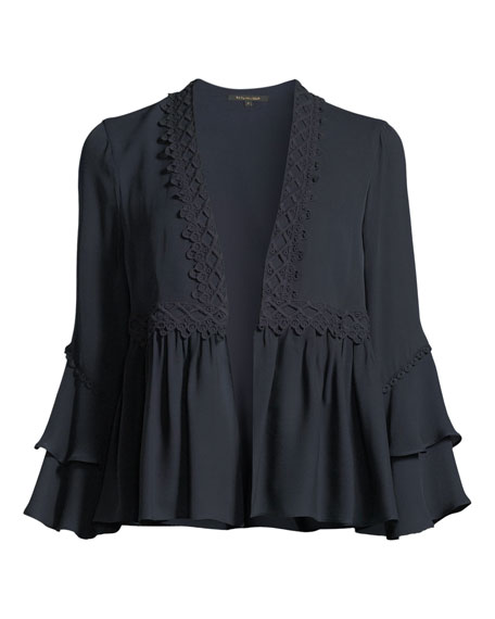 Nessa Ruffled Open-Front Silk Jacket