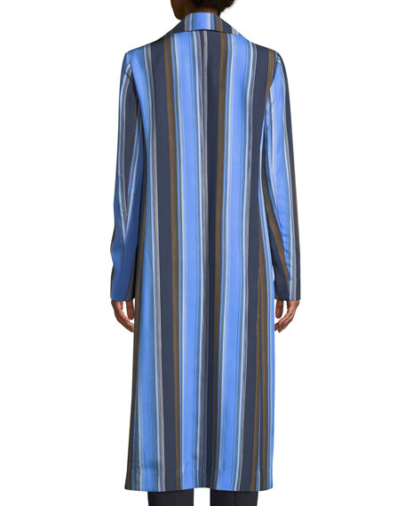 Double-Breasted Striped Silk Long Jacket