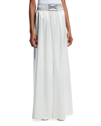 Boxing-Inspired High-Waist Wide-Leg Satin A-Line Skirt w/ Side-Slit