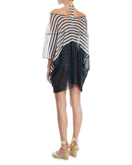 Off-the-Shoulder Tulle Striped Poncho