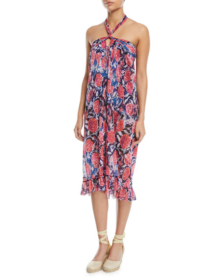 Single-Layer Wrap Rose-Print Pareo Coverup