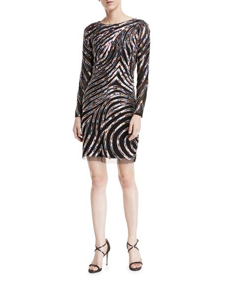 Metallic Beaded Long-Sleeve Cocktail Dress