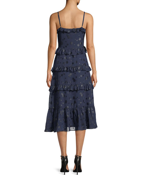 Tiered-Ruffle Dot-Print Midi Dress