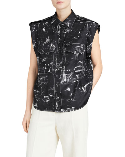 Seaport Teya Silk Printed Sleeveless Shirt