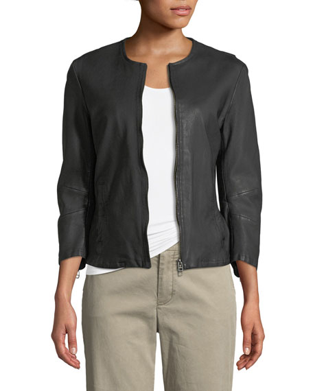 ATM Anthony Thomas Melillo Collarless Leather Moto Jacket