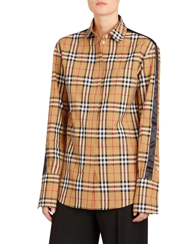 0866ee36e9ef Burberry Saoirse Side-Stripe Check Shirt