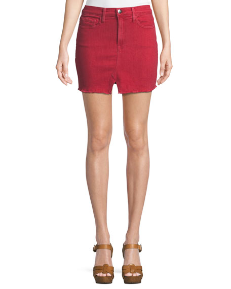 FRAME Le Mini Slit-Front Denim Skirt