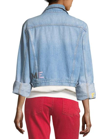 Le Embroidery Light-Wash Denim Jacket