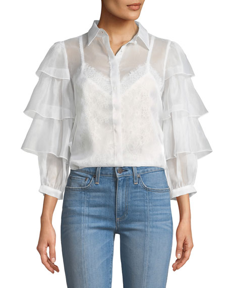 Alice + Olivia Mary-Alice Button-Down Tie-Cuffs Silk Blouse