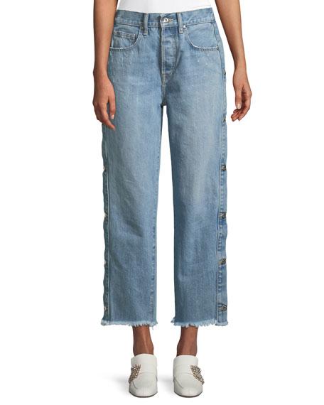 Jonathan Simkhai Manfriend Button-Down Wide-Leg Jeans