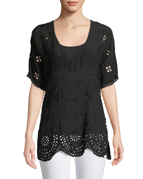 Johnny Was Tiered Eyelet V-Neck Top