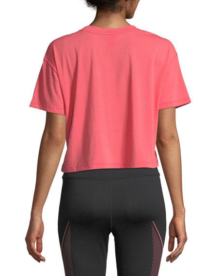 Crewneck Short-Sleeve Graphic Logo Cropped T-Shirt