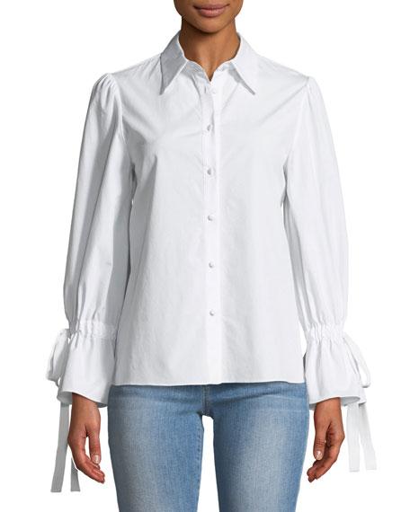 Alice + Olivia Julianna Puff-Sleeve Button-Front Tie-Cuff Shirt