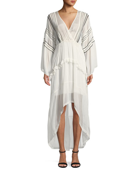 Iro  OPSEY SURPLICE LONG-SLEEVE HIGH-LOW DRESS