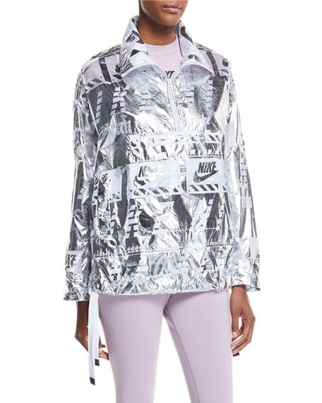 Zip-Front Graphic-Print Metallic Ripstop Pullover