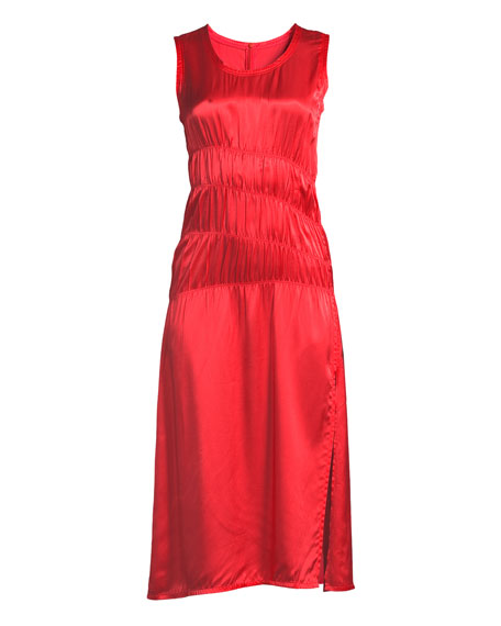 Sleeveless Ruched Satin Tank Dress