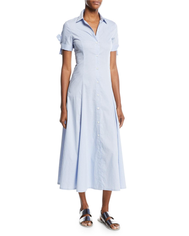 89c6c6e916d1 Theory Birch-Stripe Tie-Sleeve Shirt Dress