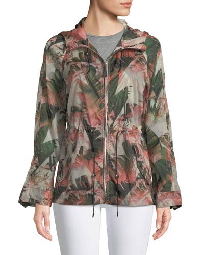 Theroa Leaf-Print Packable Rain Jacket