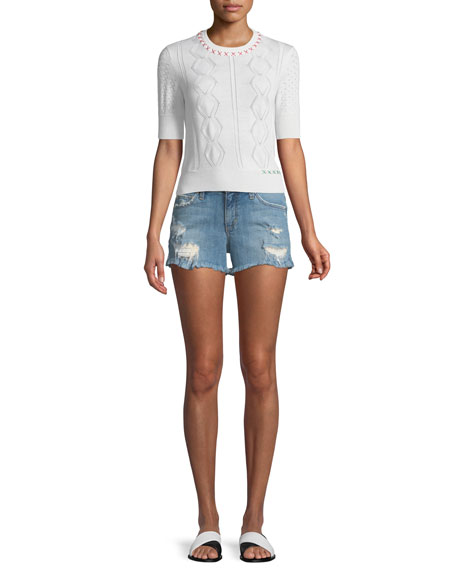 Ozzie Distressed Denim Shorts