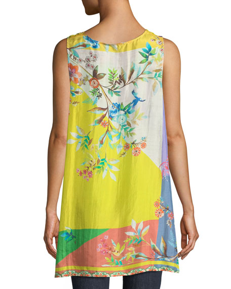 Valley Printed Scoop-Neck Long Silk Easy Tank