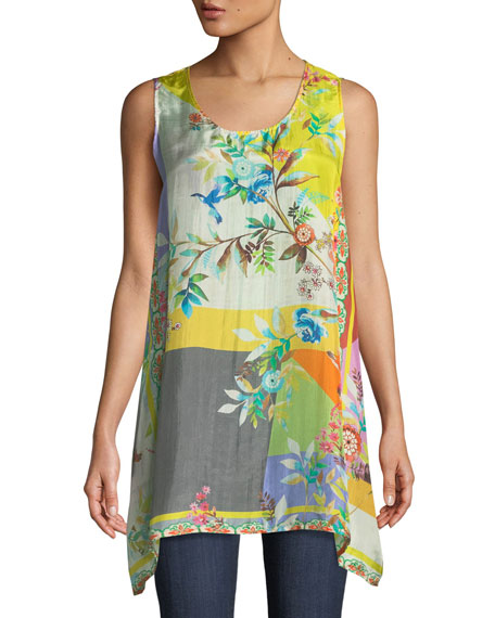 Johnny Was Valley Printed Scoop-Neck Long Silk Easy