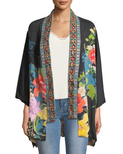Plus Size Fuskha Floral-Print Kimono