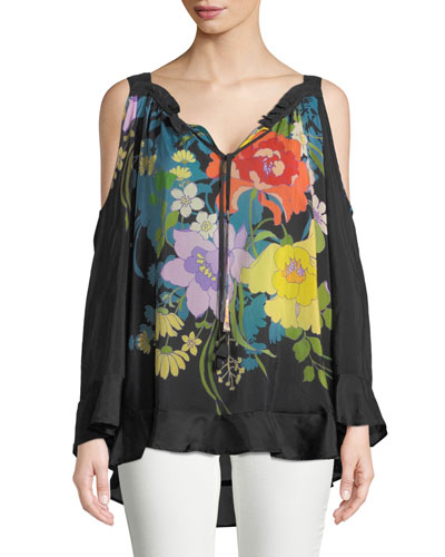 Fusion Cold-Shoulder Floral-Print Blouse