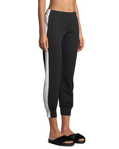 Side-Stripe Cropped Jogger Pants
