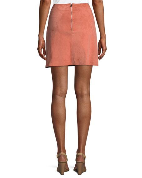 High-Waist Mini-Length Suede Skirt