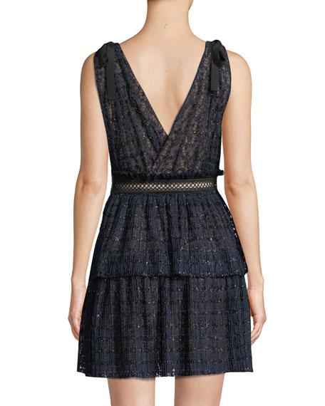 V-Neck Sleeveless Metallic Mesh Cocktail Dress