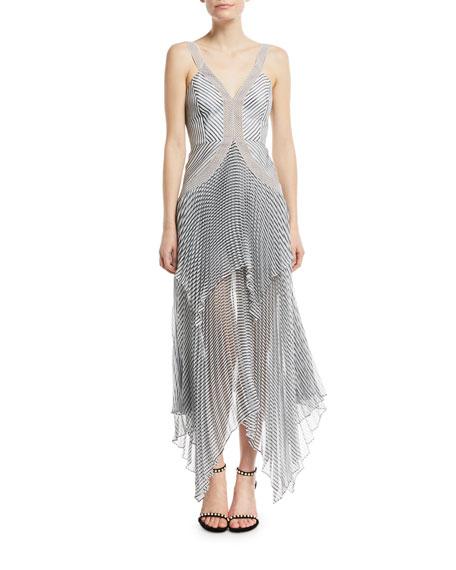 Sleeveless Monochrome Stripe Handkerchief Maxi Cocktail Dress