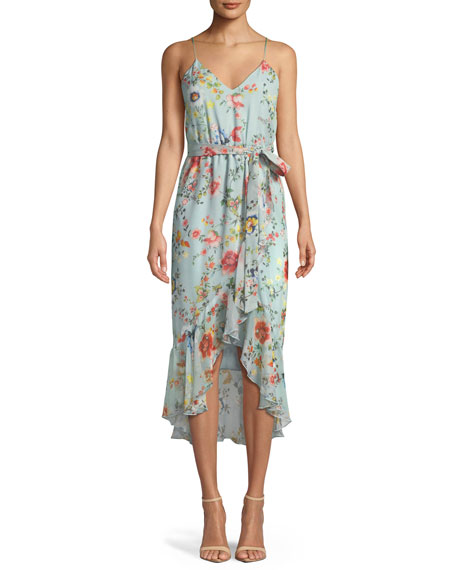 Alice + Olivia Mable Mock-Wrap Floral-Print Silk Chiffon