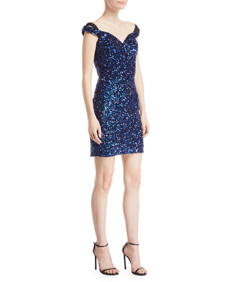 Sequin Cap-Sleeve Mini Dress