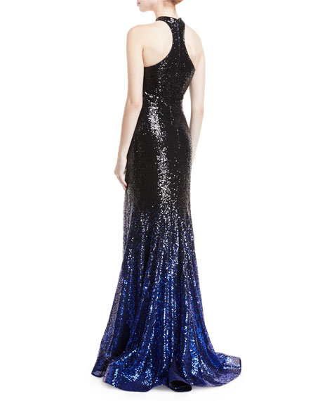 High-Neck Ombré Sequin Trumpet Gown