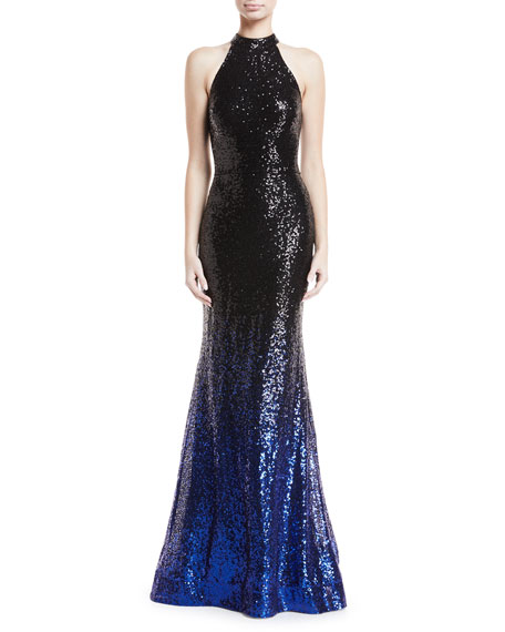 Jovani High-Neck Ombr?? Sequin Trumpet Gown