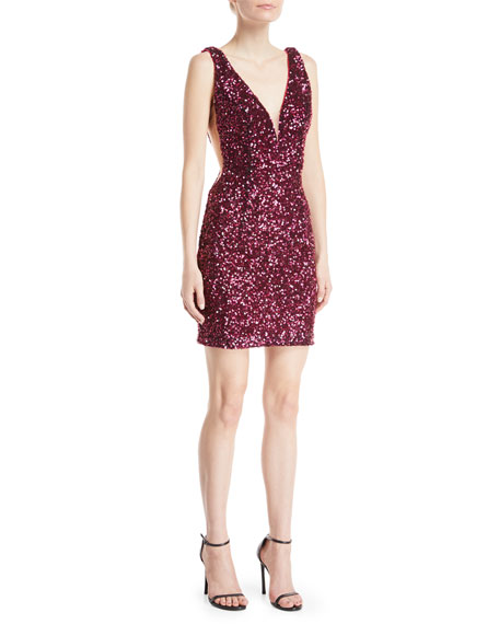 Jovani Sequin Mini Cocktail Dress w/ Illusion Sides
