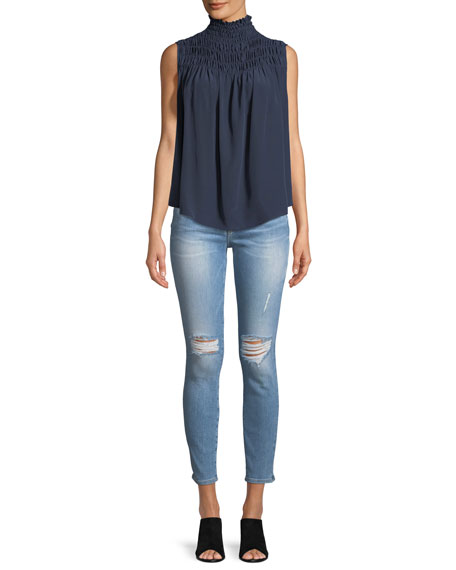 Image 3 of 4: Le Skinny De Jeanne Distressed Jeans