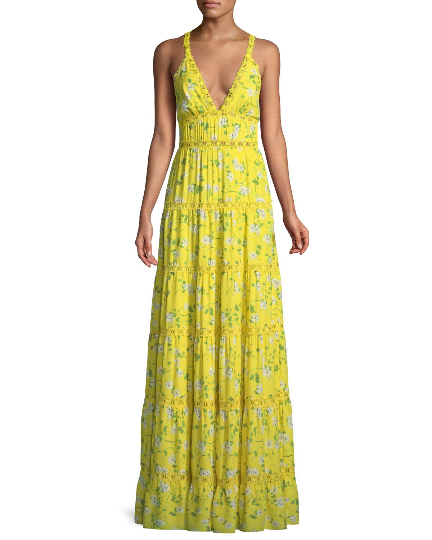 Karolina Fl Print Tiered Maxi Dress