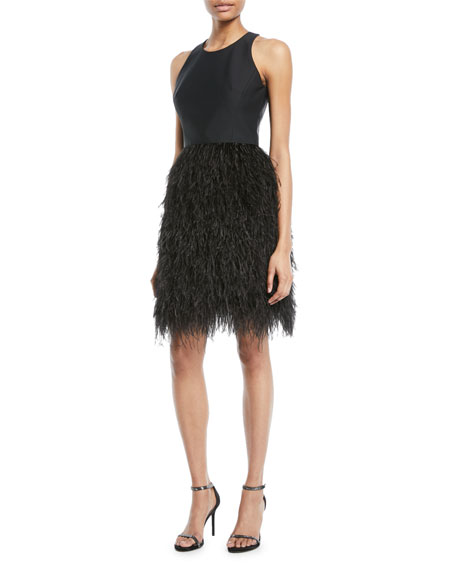 Milly Blair Sleeveless Dress w/ Feather Skirt