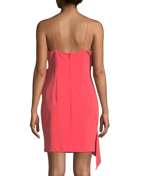 Scuba Crepe Asymmetric Ruffle Mini Dress
