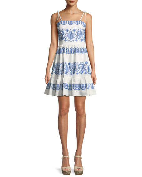 Milly Mila Mini Flare Tie-Strap Dress